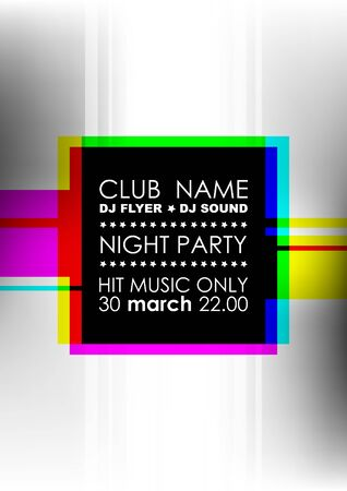 Vertical music party background with colorful square and place for text.