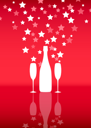 Bottle and two glasses of champagne with stars on red background.