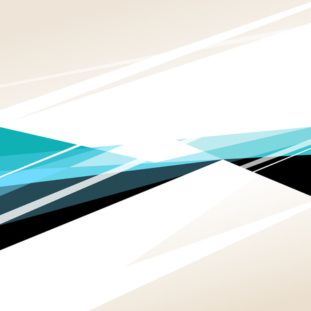 Square abstract background with black, white and blue graphic elements. Illustration