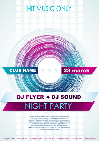 Vertical light music background with colorful graphic elements and place for text. Illustration