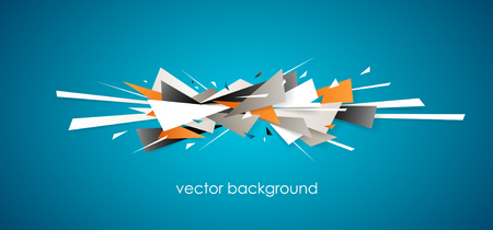Horizontal abstract blue background with different graphic elements.