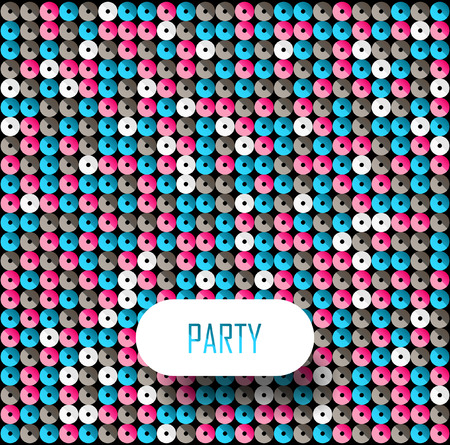 Square blue, white and pink mosaic music party background with place for text.