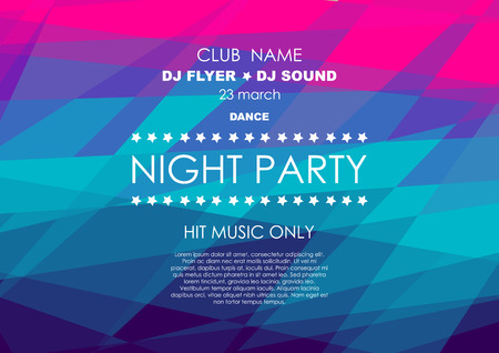 Horizontal colorful mosaic music party background with place for text. Illustration