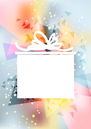 Vertical colorful abstract party background with white gift box. Illustration