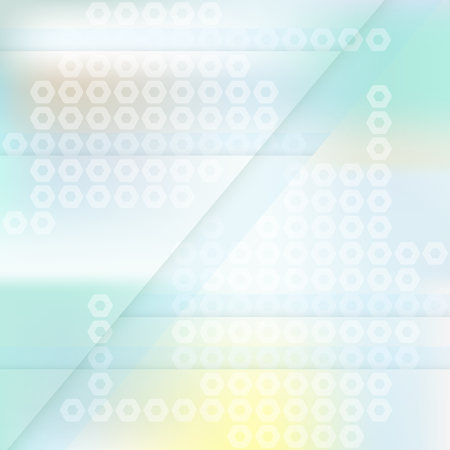 Square light blurred abstract background with hexagons and lines.