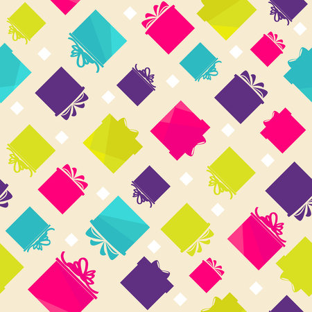 Pattern with colorful gift boxes on beige background.