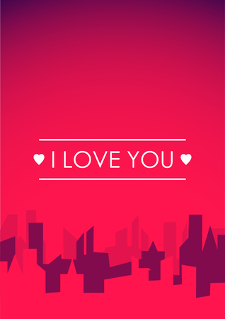 Red vertical background with city and place for text.