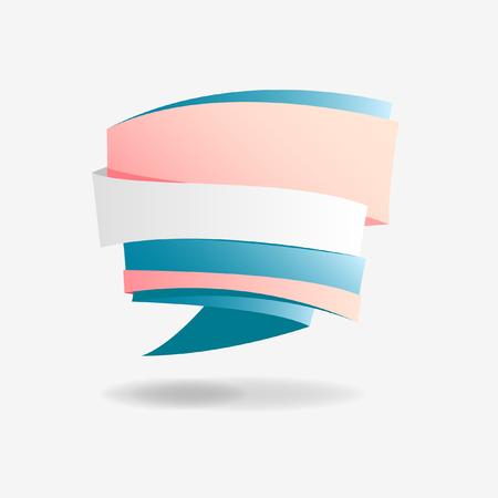 明るい灰色の背景にピンクとブルーのリボン。  イラスト・ベクター素材