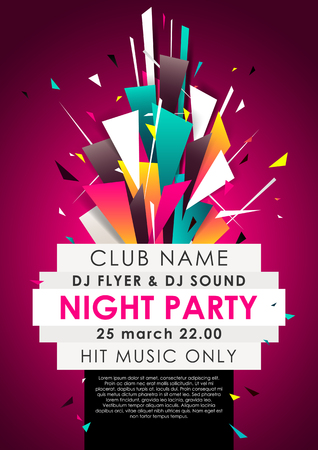 Vertical music party background with colorful graphic elements and place for text. Vettoriali