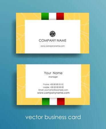 ベージュ色の背景に光水平ビジネス カードはイタリア国旗のセットします。  イラスト・ベクター素材