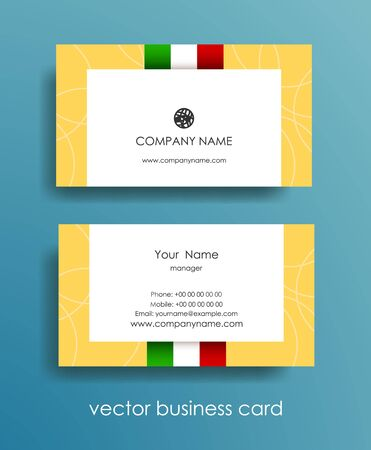 Set of light horizontal business cards with Italian flag on beige background. Stock Illustratie