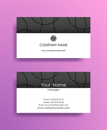 Set of horizontal abstract business cards on violet background.