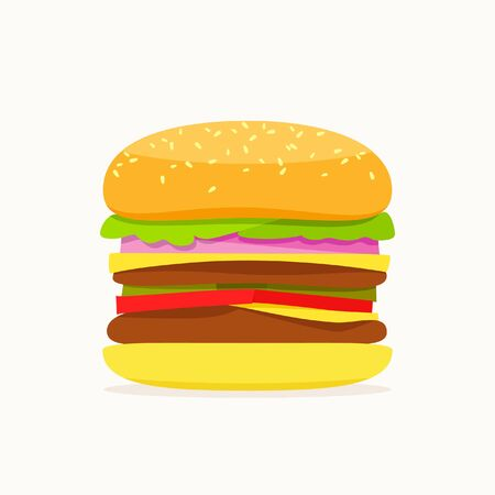 Colorful big hamburger with shadow on white background.