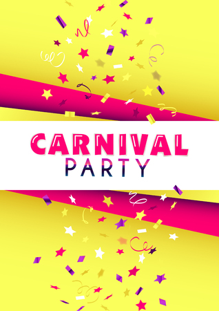 Vertical yellow carnival party background with flying graphic elements. 向量圖像