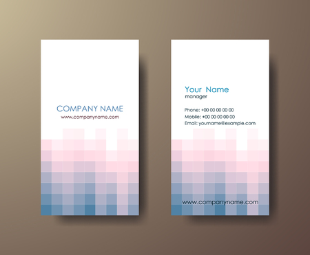 Set of light vertical abstract business cards with mosaic on gray background. Stock Illustratie