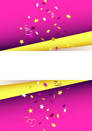 Colorful template with falling confetti design.