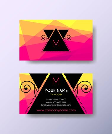 Set of horizontal elegant abstract mosaic business cards with hipster label on color background.