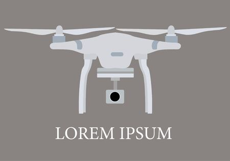 airborne: Quadrocopter, drone on grey background. Drone with action camera. Taking a birds eye. Vector. Illustration
