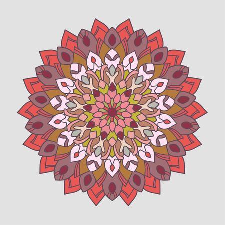 Openwork mandala. Round hand-drawn pattern. Colorful, bright print.