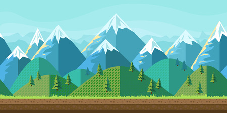 Mountain landscape. Flat style. Vector nature landscape background with separated layers for game art and animation game