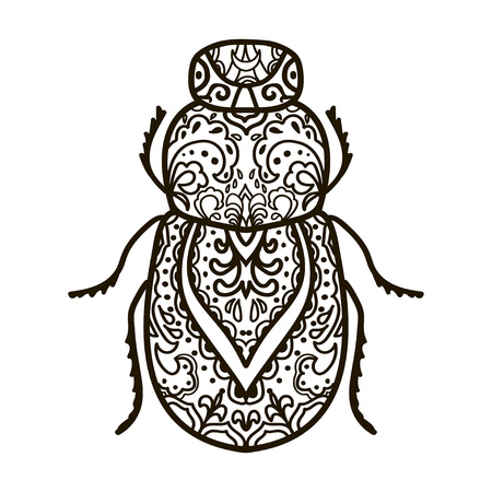 Scarab beetle. Animals. Hand drawn doodle insect. Ethnic patterned vector illustration. African, indian, totem, tribal,  design. Sketch for adult coloring page, tattoo, print or t-shirt. Illustration