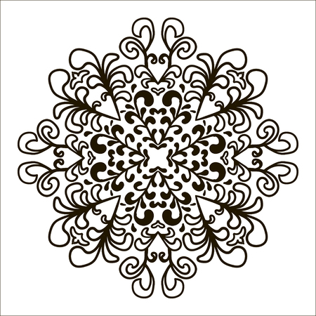 christmas tattoo: Bohemian Indian Mandala print. Vintage Henna tattoo style Indian medallion. Ethnic ornament could be used as shirt print, phone case print, textile, coloring book. Christmas holiday snowflake