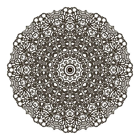 Bohemian Indian Mandala print. Vintage Henna tattoo style Indian medallion. Ethnic ornament could be used as shirt print, phone case print, textile, coloring book.