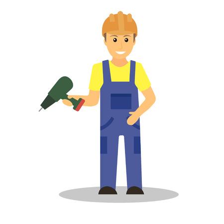 Builder man in blue overall holding drill. Erector in orange helmet. Vector illustration. Illustration