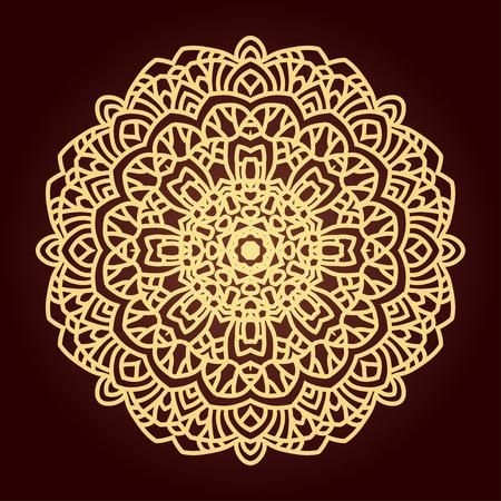 Mandala. Ethnic decorative element. Hand drawn backdrop. Islam, Arabic, Indian, ottoman motifs. Boho style. Line art for adult coloring book page design. Illustration