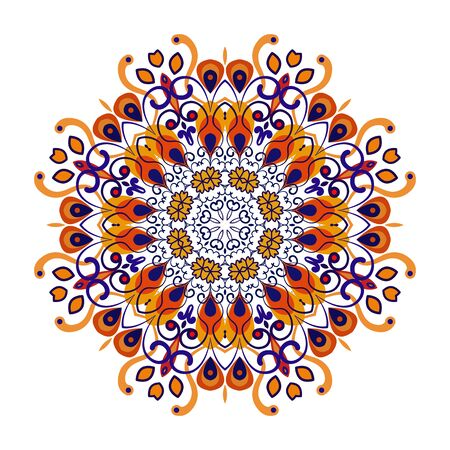 Openwork vector mandala. Round hand-drawn pattern in blue and orange tones. Colorful, bright print for invitation, wedding card, scrapbooking. Tattoo design. Illustration