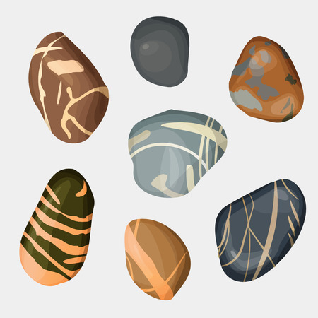pebbles: Vector river stones isolated on white background. Different shapes sea rock pebbles