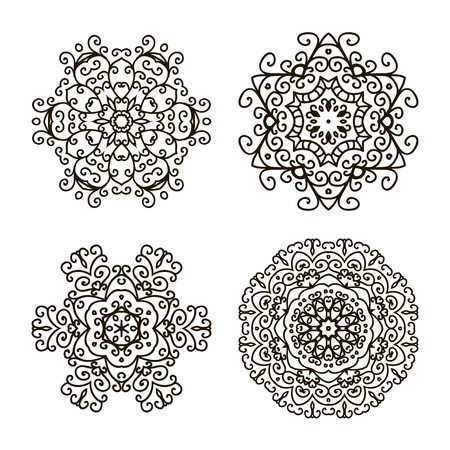 Set ethnic Oriental patterns. Collection of vector mandalas for coloring