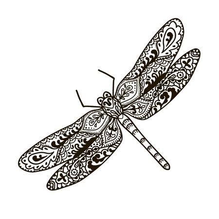 トンボ。動物。手描き落書きの昆虫。エスニック パターン ベクトルの図。アフリカ、インド、トーテム、部族、デザイン。大人ぬりえページ、タト