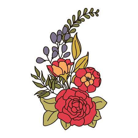 rose hips: Vector illustration of a bouquet with roses Illustration