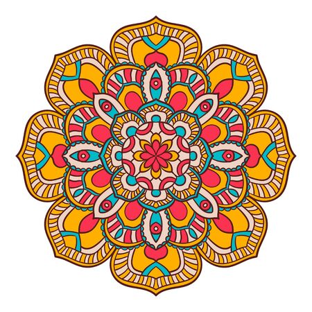 Flower Mandalas. Vintage decorative elements. Oriental pattern, vector illustration. Islam, Arabic, Indian, turkish, pakistan, chinese, ottoman motifs. Vector for coloring page for adults