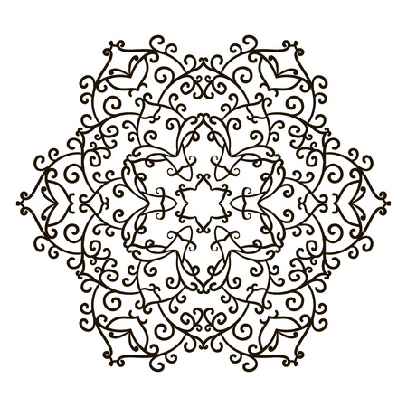 Coloring Book Mandala. Circle lace ornament, round ornamental mandala pattern, black and white design. vector for coloring page for adults