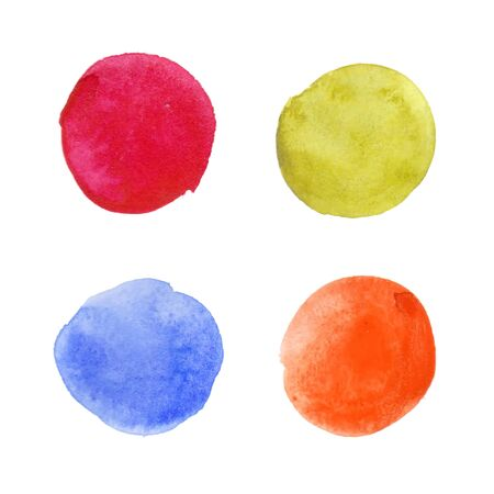 Colorful watercolor stains (blue, yellow, red, orange, green) with rough strokes, stroke brush and the paint texture. Isolated on white background vector illustration.