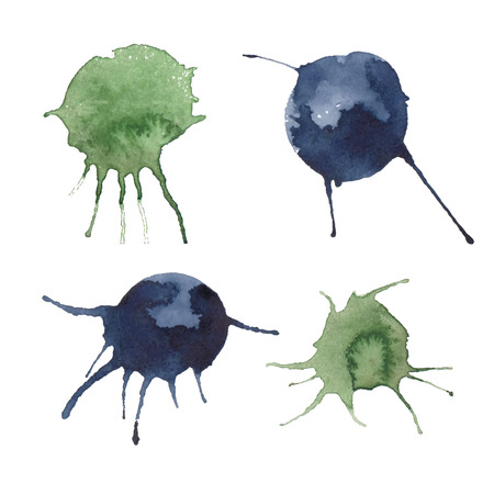Colorful watercolor stains and splashes (blue, green) with rough strokes, stroke brush and the paint texture. Isolated on white background vector illustration