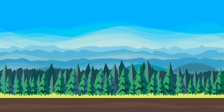 Forest landscape with fir trees. Flat style. Vector nature landscape background with separated layers for game art and animation game