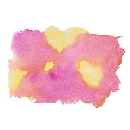 Colorful watercolor hand drawn paper texture torn splatter banner. Wet brush painted smudges ans strokes abstract vector illustration. Pink yellow artistic background. Vector illustration.