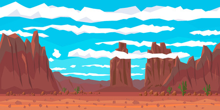 Desert landscape with cactuses and mountains. Flat style. Vector nature landscape background with separated layers for game art and animation game Illustration