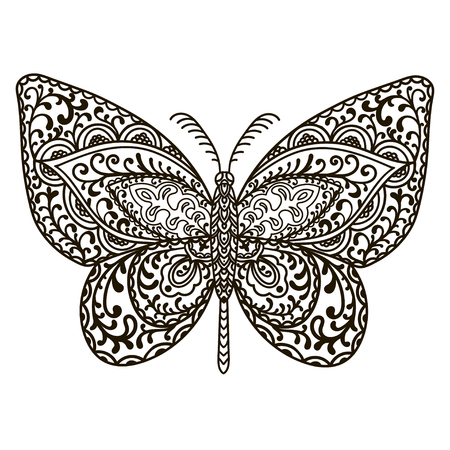 Butterfly. Animals. Hand drawn doodle insect. Ethnic patterned vector illustration. African, indian, totem, tribal, zentangle design. Sketch for adult coloring page, tattoo, posters, print or t-shirt. Ilustrace