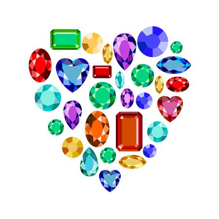 Set of realistic jewels. Colorful gemstones. Vector gemstone heart Illustration