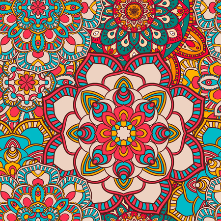 Seamless mandala pattern for printing on fabric or paper. Hand drawn background. Colorful, bright print. Иллюстрация