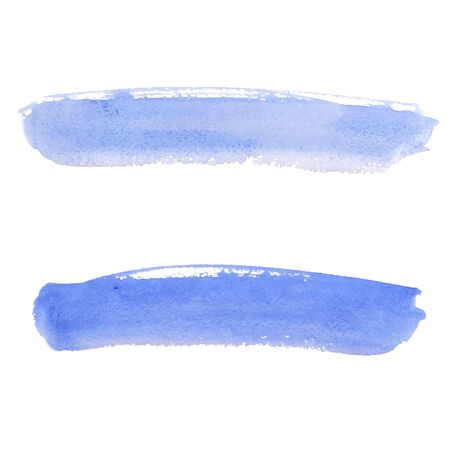 Colorful watercolor stains (blue, green) with rough strokes, stroke brush and the paint texture. Isolated on white background vector illustration.