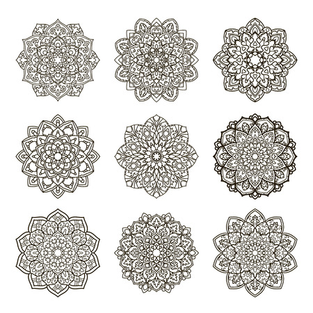 mandalas: Set of mandalas. Ethnic decorative elements. Islam, Arabic, Indian, ottoman motifs. Boho style. Vector for coloring page for adults Illustration