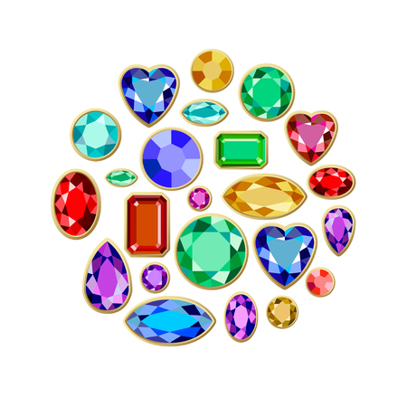 Conjunto de joyas realistas. Piedras preciosas coloridas. Ilustración vectorial de piedras preciosas