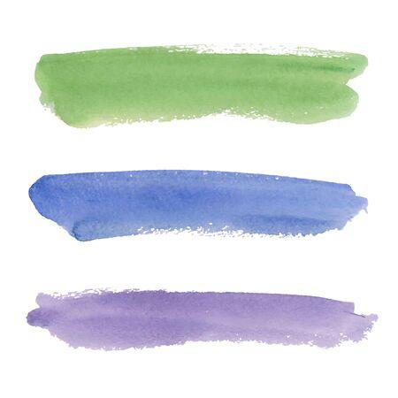 수채화 브러쉬 스트로크 화이트 절연입니다. 다채로운 그린 된 grunge 줄무늬 설정합니다. 벡터 일러스트 레이 션. 일러스트