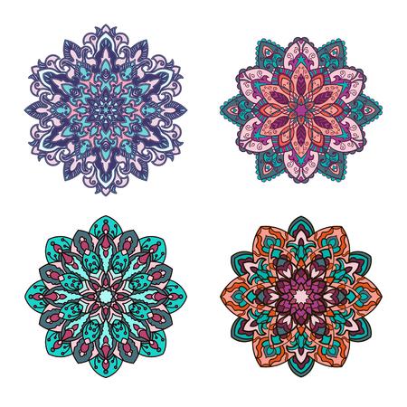Set of mandalas. Ethnic decorative elements. Islam, Arabic, Indian, ottoman motifs.
