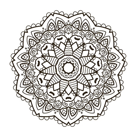 Mandala. Ethnic decorative element. Hand drawn backdrop. Islam, Arabic, Indian, ottoman motifs. Boho style. Vector for coloring page for adults